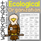 Ecological Organization Worksheet for Review or Assessment