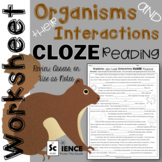 Interactions Among Organisms CLOZE Reading for Review or Assessment