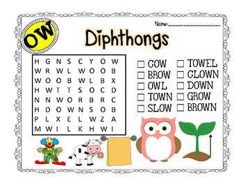 Diphthong ou and ow Word Searches