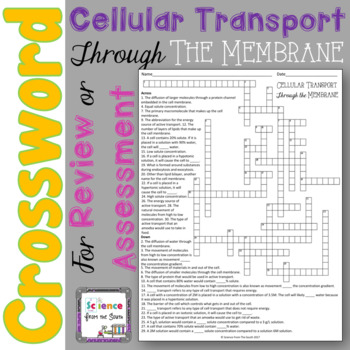 Cellular Transport Crossword Puzzle for Review or Assessment