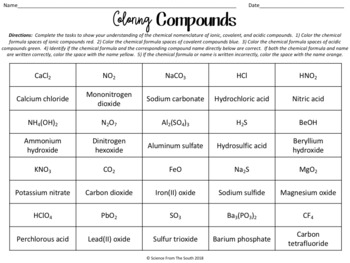 Coloring Compounds Worksheet for Review or Assessment of Chemical Nomenclature
