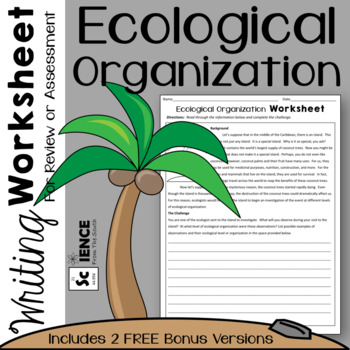 Ecological Organization Writing Worksheet for Review or Assessment