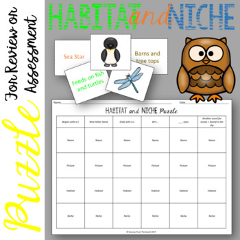 Habitat and Niche Puzzle for Review or Assessment