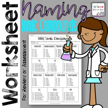 Naming Ionic Compounds Worksheet For Review Or Assessment Tpt