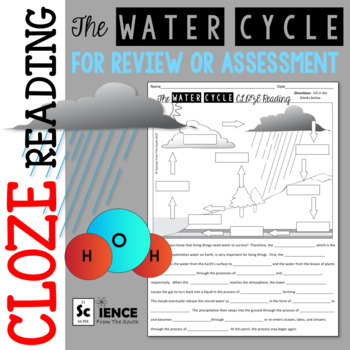 The Water Cycle Cloze Reading Worksheet With Diagram For Review Or