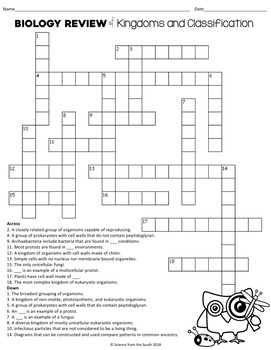 Biology Review Kingdoms and Classification Crossword Puzzle