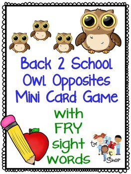 Back-2-School Owl Opposites Mini Card Game