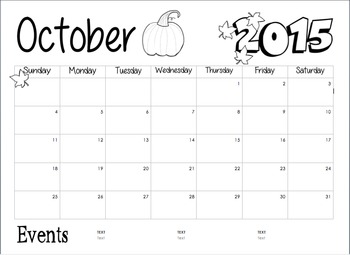 Editable Monthly Calendars 2015-2016