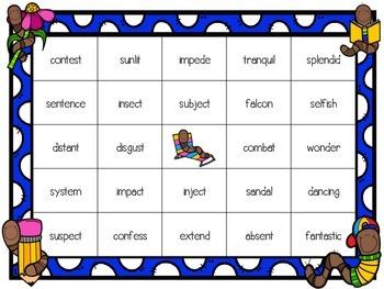 Worm Word Work: VCCV Bingo Games
