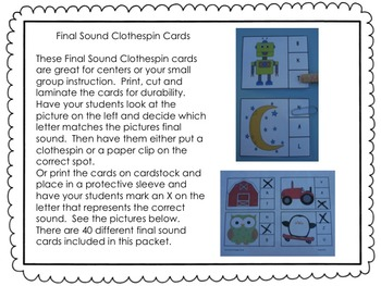 Final Sound Clothespin Cards
