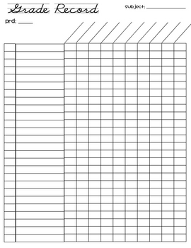 FREE grade record sheet (26 students) by Adrienne Wiggins ...
