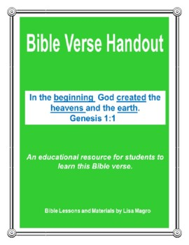 "Handout - ""In the beginning, God created..."" Genesis 1:1.  (NKJV) Print and Go!"