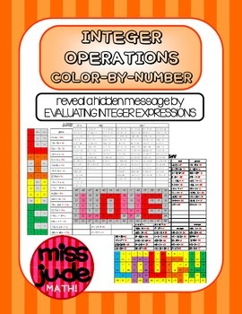 Integers & order of operations color-by-number practice worksheets