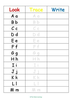FREE look trace write upper and lower case letters