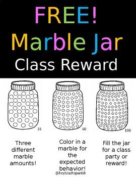 Free Marble Jar Class Reward System By Hey Teach Spanish Tpt