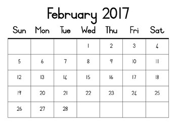 FREE monthly calendars for 2017