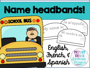 FREE name headbands - English, French, and Spanish