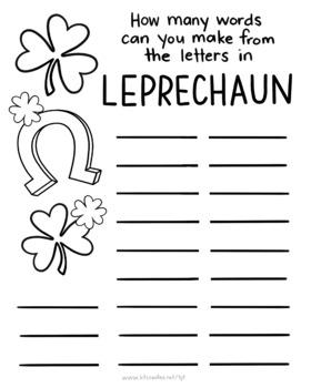 No prep, St.Patricks Day 'LEPRECHAUN' words activity page