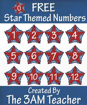 FREE on TpT!! 4th of July Themed Numbers Clip Art (0-12)