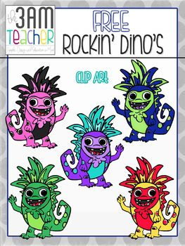 FREE on TpT!!  Rockin' Dino Clip Art / Graphics
