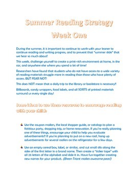 FREE parent letter- strategies for summer reading