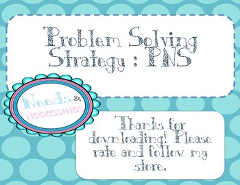 FREE problem solving strategy poster