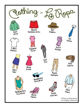 "FREE resource - ""Clothing"" Spanish/English"