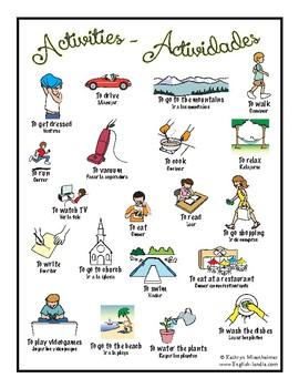 """FREE resource - """"Common Activities"""" Spanish/English"""