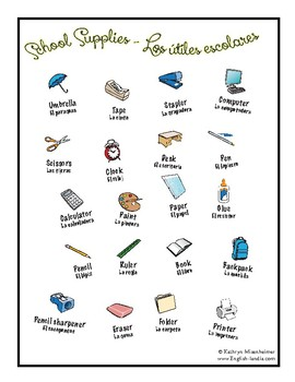 "FREE resource - ""School Supplies"" Spanish/English"