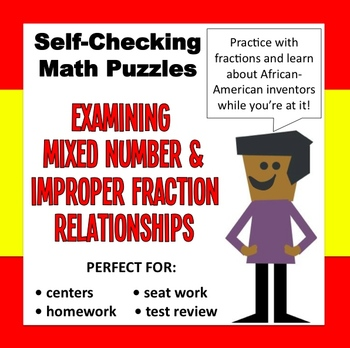 FREE self-checking mixed numeral/improper fraction puzzle set