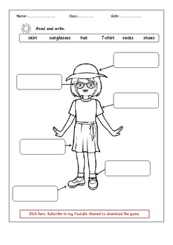 FREE summer clothes worksheet.