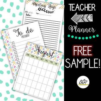 FREE teacher planner sampler