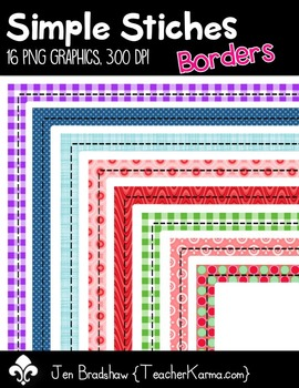 Borders ~ Simple Stiches Clip Art ~ Commercial Use OK ~ Frames