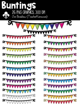 Buntings Clipart ~ Commercial Use OK ~ Flags ~ Swags