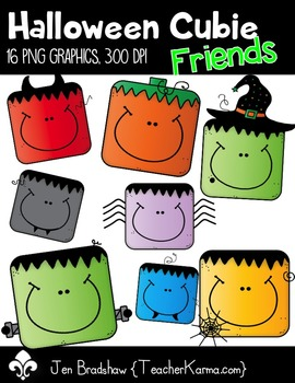 Halloween Cubie Friends Clip Art ~ Commercial Use OK