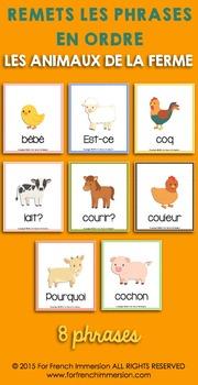Animaux de la ferme FRENCH Farm Animals Sentence Builders
