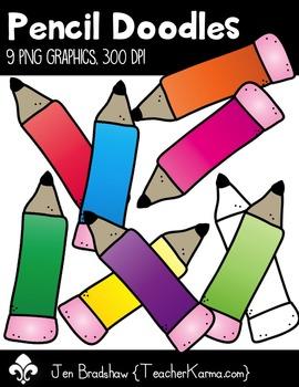 Pencil Doodles Clipart ~ Commercial Use OK