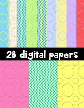 Pretty Papers Clip Art ~ 28 Digital Papers ~ CU OK ~ 8.5 x 11
