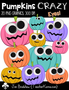 Pumpkins CRAZY Eyes Clip Art ~ Halloween ~ Fall ~ Commercial OK