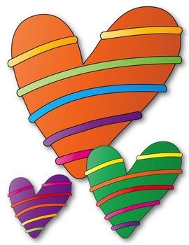 Rainbow Hearts Clip Art ~ CU OK