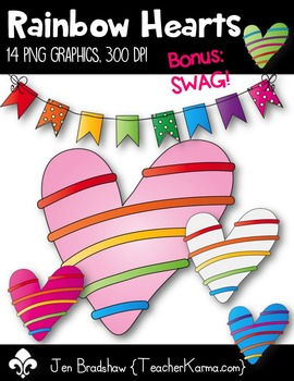 Rainbow Hearts Clip Art ~ CU OK