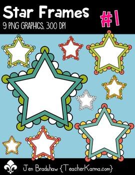 Star Frames #1 w White Centers Clip Art ~ Commercial OK ~ Borders