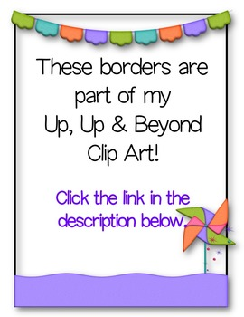 Up Up & Away BORDERS Clip Art ~ Hot Air Balloon ~ Rainbow ~ Spring