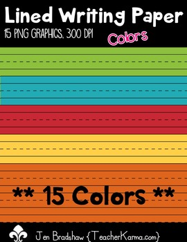 Writing Paper ~ Lined Colors Clip Art ~ Commercial Use OK