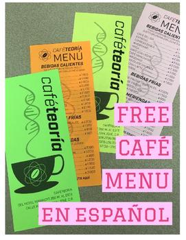 FREE Spanish Restaurant Menu for a Cafe