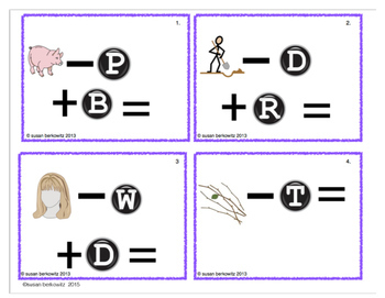 FREE trial Word Family Phoneme Manipulation Task Cards for ELA