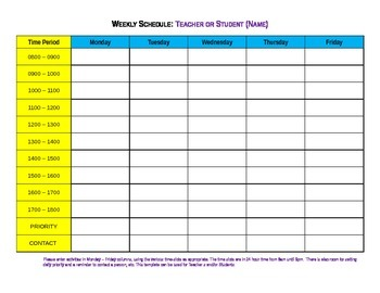 FREE : week planner, weekly schedule form daily / hourly - classroom management