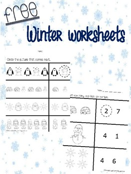 FREE winter themed worksheets