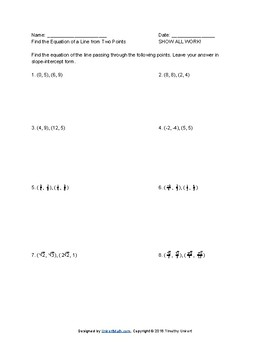 FREE worksheet - Deriving The Equation of a Line From Two Points