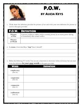 {FREE}Alicia Keys Poem - P.O.W (poem + worksheet)